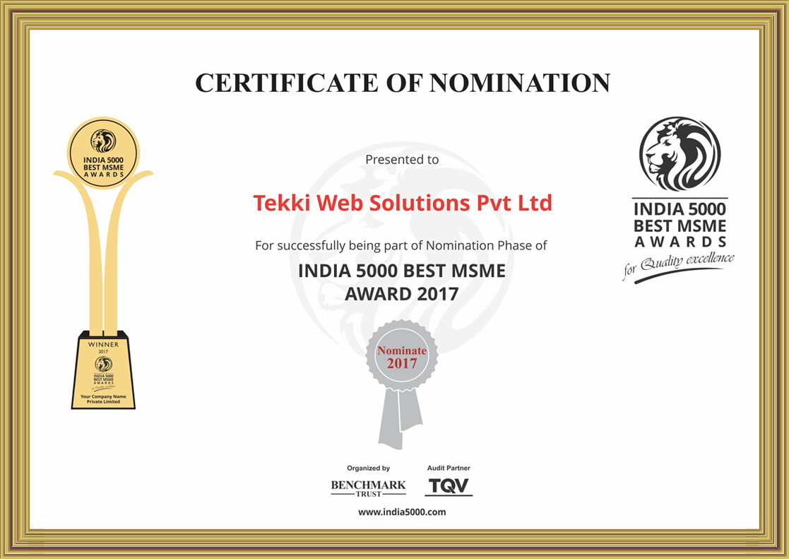 Certificate of Nomination INDIA 5000 Best MSME Award 2017